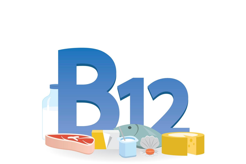 Scritta B12 con di fronte gli alimenti ricchi della vitamina