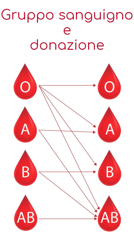 Tabella che riassume le compatibilità tra i vari gruppi sanguigni