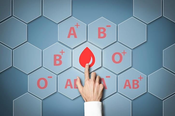 Fotografia di una mano che indica una goccia di sangue disegnata sulla parete, con attorno l'indicazione dei diversi gruppi sanguigni