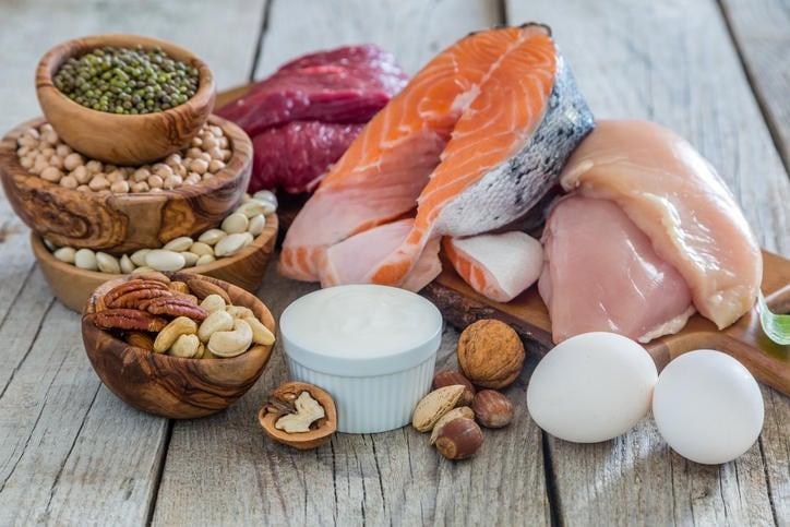 Alimenti fonte di proteine (carne, pesce, uova, latticini, frutta secca a guscio, legumi).