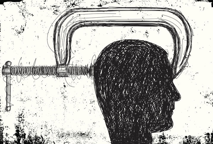 Disegno di una testa in una morsa, a testimonianza di quanto sia devastante per il paziente un attacco di cefalea a grappolo.