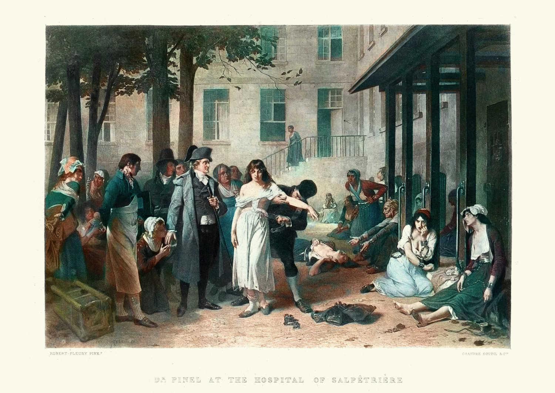 Medico in un manicomio femminile ottocentesco
